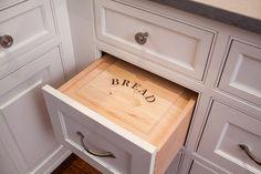 hidden bread box kitchen drawer I NEED one of these. Kitchen Interior, New Kitchen, Kitchen Decor, Kitchen Design, Kitchen White, Kitchen Pantry, Bread Drawer, Bread Storage, Kitchen Drawers