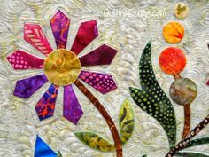 Spring Bouquet Quilt Finished | Orchid Owl Quilts This is machine applique-raw edge...Love the colors! ! !