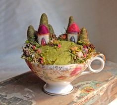 """I hope to create things that spark a feeling of enchantment when you look at them – things that make you smile and wish you were a part of the magical worlds these little creations are part of. I hope that what I make will brighten someone's day and that they will enjoy them for years to come.""  Waldorf Inspired Needle Felted Fairy Gardens by Mary, the Ginger Little shop owner on Etsy."