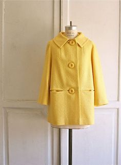 60s yellow lemon drop boucle coat Quart Coat, Pauline Alice in a lovely yellow with big 60s buttons, if I find the right fabric. Fingers crossed.