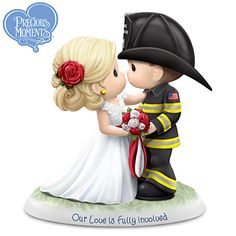 Precious Moments Our Love Is Fully Involved Figurine Firefighter Wedding Cakes, Fireman Wedding, Firefighter Gifts, Firefighter Engagement Photos, Firefighters Wife, Firemen, Fall Engagement, Engagement Pictures, Engagement Shoots
