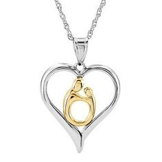 Janel Russell's classic Mother and Child® design perfectly captures this special, loving bond, featuring a sterling silver heart and 10k yellow gold oval mother and child figure.