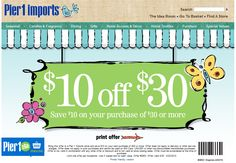 $10 off $30 at Pier 1 Imports