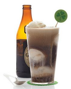 cocktail version of a root beer float: vanilla ice cream topped with Irish stout. With the ice cream sweetening the rich beer, the float is as much a dessert as it is a drink. Scoop ice cream into a pint glass, and pour in enough stout to fill it. Beer Ice Cream, Pint Of Ice Cream, Ice Cream Floats, Guinness, Alcoholic Ice Cream, Alcoholic Beverages, Sangria, St Patricks Day Drinks, Martha Stewart Recipes
