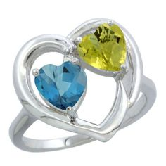 10K White Gold Diamond Two-stone Heart Ring 6mm Natural London Blue Topaz & Lemon Quartz, size 6, Women's