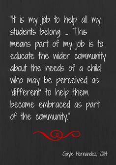 Quote: A Teacher's Job is to Help Students Belong