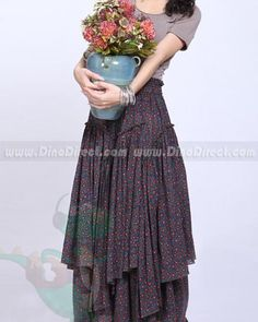 Women Cotton Long Floral Layered Gathering Skirts - DinoDirect.com