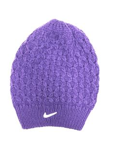 Nike women's slouchy beanie- purple with swoosh and athletic shield. ($29.99) Slouchy Beanie, Knitted Hats, Nike Women, Athletic, Knitting, Purple, How To Wear, Fashion, Knit Hats