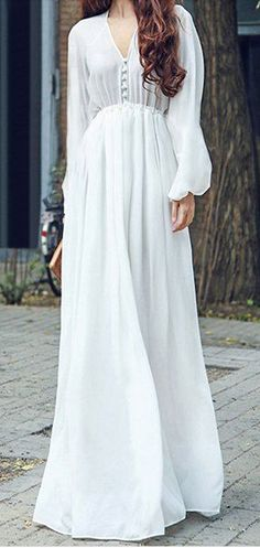 long sleeve flowy chiffon maxi dress