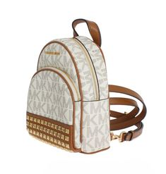 6ac975eb814f ... reduced michael kors white abbey leather xs backpack d5466 956e5 ...