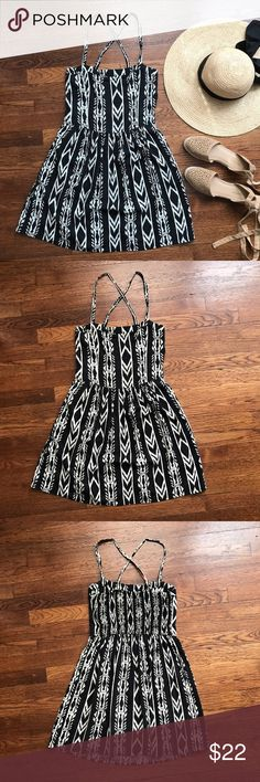 """A&F Aztec Print Sundress Great condition! Super soft and flowy dress, criss cross straps, stretchy backing for easy wear  • 100% Viscose • 27"""" in length  • No Trading  • Reasonable Offers are Always Welcomed • Low ball offers will be declined •  Me For a Bundle Discount! Abercrombie & Fitch Dresses"""