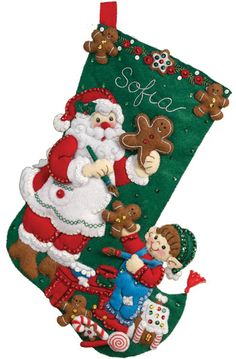 "16"" special release Bucilla stocking (1 of 8): Gingerbread Santa. MerryStockings has them all at $12.99."