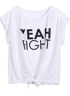 #SheInside White YEAH RIGHT Print Tie T-Shirt - Sheinside.com