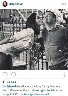 Daniela Ruah aka Kensi Blye and Chris Odonnel aka G Callen from NCIS LOS ANGELES behind the scenes photo season 6