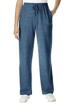 d76cfdb7942b4 Woman Within Womens Plus Size Petite Pants In Sports Knit Heather Navy2X      Amazon