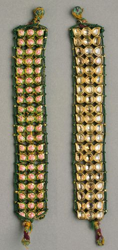 India | Bazuband (armlet); gold, diamonds, foiled paste, enamel. Restrung with silk and gold thread | Uttar Pradesh. ca. Late 18th to early 19th century #IndianJewellery #OnlineShopping