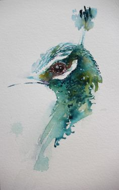 Peacock in watercolour by Jean Haines