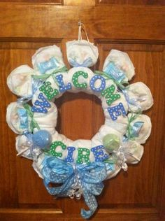 Diaper Wreath   Great Idea for Baby Showers