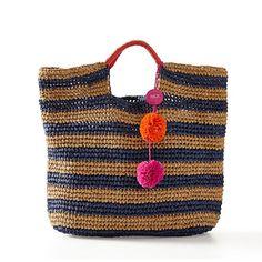 pom pom tassel on raffia bag mark and graham mar y sol Crochet Tote, Crochet Handbags, Diy Projects To Make And Sell, Jute Tote Bags, Baby Shoes Pattern, Straw Handbags, Loom Knitting, Knitting Machine, Chunky Crochet