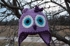 Crochet Owl Hat in purple and lavender by chelseygoedecke on Etsy, $23.50