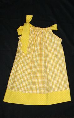 Easter dress yellow tiny houndstooth pillowcase dress, easter outfit, 12 month…