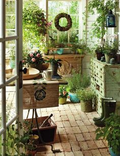 Potting Shed and Bench Ideas Greenhouse Shed, Greenhouse Gardening, Gardening Tools, Gardening Supplies, Indoor Garden, Indoor Plants, Outdoor Gardens, Dream Garden, Home And Garden