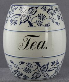 """ESTATE - ANTIQUE CERAMIC TEA CANISTER 5 1/2"""" GERMANY BLUE ONION PATTERN LOST LID"""