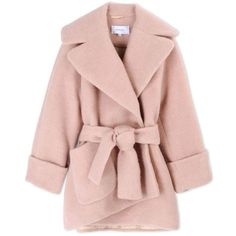 Carven Oversized Cocoon Coat ($1,050) ❤ liked on Polyvore featuring outerwear, coats, jackets, coats & jackets, pink, wrap coat, tie belt, cocoon coat, pink coat y oversized coat