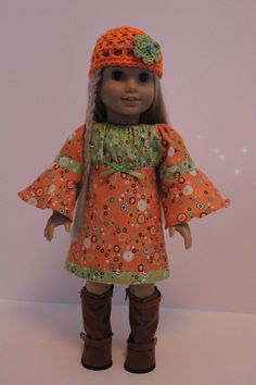 Lime Orange Colourblock Peasant Dress Crocheted Cap Julie