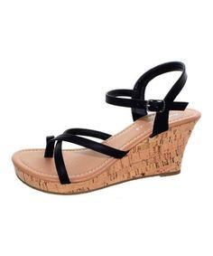 Look what I found on #zulily! Black Luna Wedge Sandal #zulilyfinds
