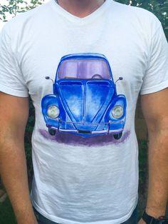 e997f62535900 Items similar to Hand painted tshirt Blue car print Funny tshirt Cotton  tshirt Graphic tee Fashion tee Design tshirt Cute tshirts Handmade tee  Uniquely tee ...