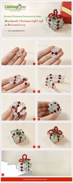 Beaded Christmas Ornament to Make – Handmade Christmas Gift Craft in Red and…
