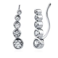 Berricle Sterling Silver Cz Graduated Bubble Fashion Ear Crawlers