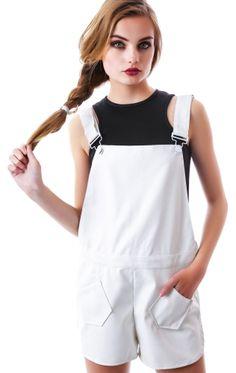 Nameless Olivia Veggie Leather Overall Shorts | Dolls Kill