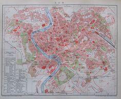 1895 ROM ROME ITALIEN ITALIA alte Stadtplan Karte Antique City Map Lithographie