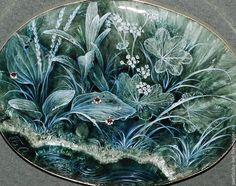 Купить У Тёмной Воды... - тёмно-зелёный, лаковая миниатюра, роспись по камню, травы