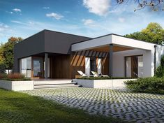 Zdjęcie projektu Artus in 2020 Modern House Facades, Modern Bungalow House, Bungalow House Plans, Modern House Plans, House Roof Design, Flat Roof House, Facade House, One Storey House, Modern Small House Design