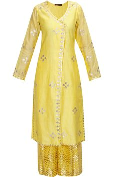 Yellow and pale blue gota patti work kurta set by Amrita Thakur  Shop now:http://www.perniaspopupshop.com/designers/amrita-thakur #shopnow #amritathakur #perniaspopupshop