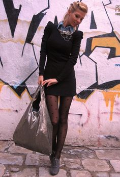 little black dress, big silver bag  , Terranova in Shirt / Blouses, New Yorker in Dresses, Asos in Bags, Tally Weijl in Socks / Tights
