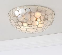 Marina Faceted Shell Flushmount #potterybarn - for the Laundry room - so fun and light and fresh!