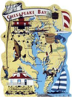 Chesapeake Bay Map, Chesapeake Bay, Atlantic Ocean, Ocean City, Maryland, estuary, Atlantic Migratory Bird Flyway, Delaware / The Cat's Meow Village