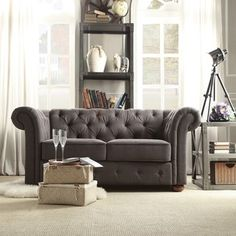 TRIBECCA HOME Knightsbridge Dark Grey Linen Tufted Scroll Arm Chesterfield Loveseat | Overstock™ Shopping - Great Deals on Tribecca Home Sofas & Loveseats