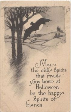 Spooky Bat vintage Halloween card.