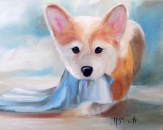 Mary Sparrow Smith from Hanging the Moon – dog art, pets, portrait, paintings, gift ideas, home decor, Pembroke Welsh Corgi