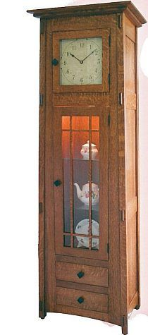 Amish crafted McCoy Mission grandfather clock wtih a dual purpose. Keep track of time & display a few of your treasures. Craftsman Clocks, Craftsman Furniture, Shaker Furniture, Amish Furniture, Craftsman Style, Wood Clocks, Antique Clocks, Furniture Styles, Furniture Projects