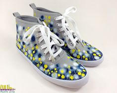 Casual Fashion Shoes for girls - Hand Painted Sneakers with abstract blue and yellow flowers -facebook: Lulush.Shoes
