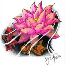 Floating lotus tattoo design