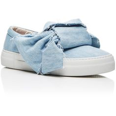 Joshua Sanders     Azure Denim Bow Sneakers ($370) ❤ liked on Polyvore featuring shoes, sneakers, light wash, oversized shoes, denim sneakers, denim shoes, tie shoes and bow tie shoes