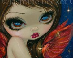 Faces of Faery 210 big eye fairy face art print by Jasmine Becket-Griffith 6x6 star angel
