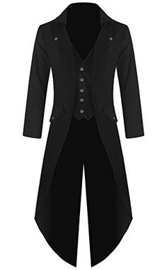 [] Mens Gothic Tailcoat Jacket Black Steampunk VTG Victorian Coat (XL, Black) []---